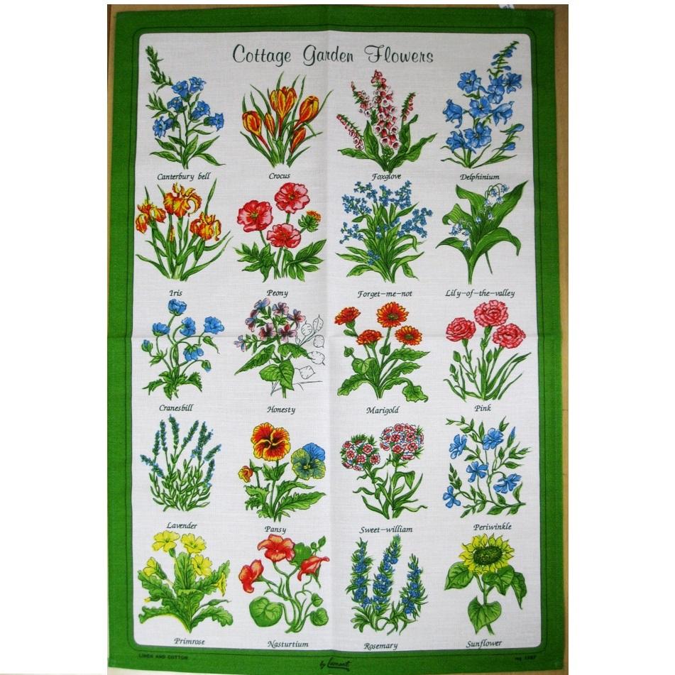 ティータオル コッテージ ガーデンフラワー 英国製 British Tea Towel Cottage Garden Flowers