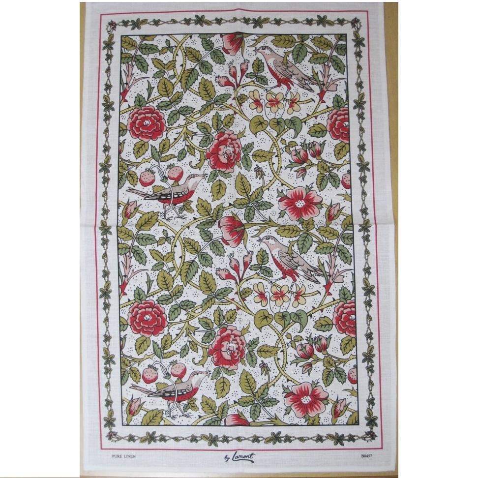 英国製のティータオル バード&フラワーズ British Tea Towel Bird and Flowers