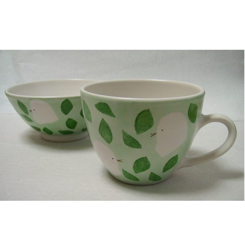 子供食器 マグカップ と 茶碗 小鳥 グリーン