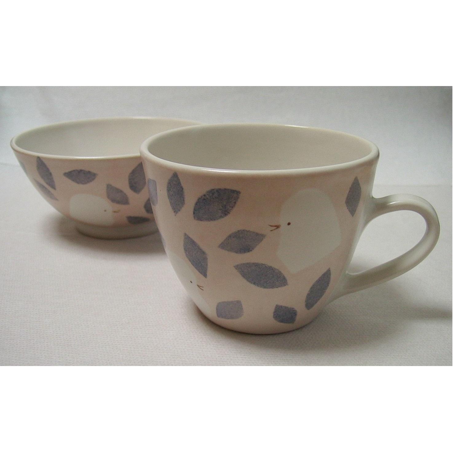 子供食器 マグカップと茶碗 小鳥 ピンク