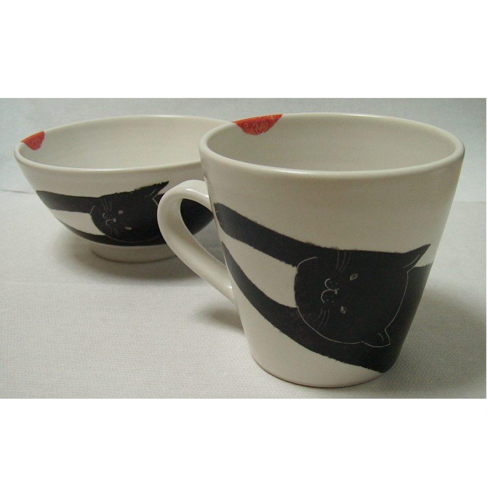 子供食器 お茶碗 と マグカップ くろネコ