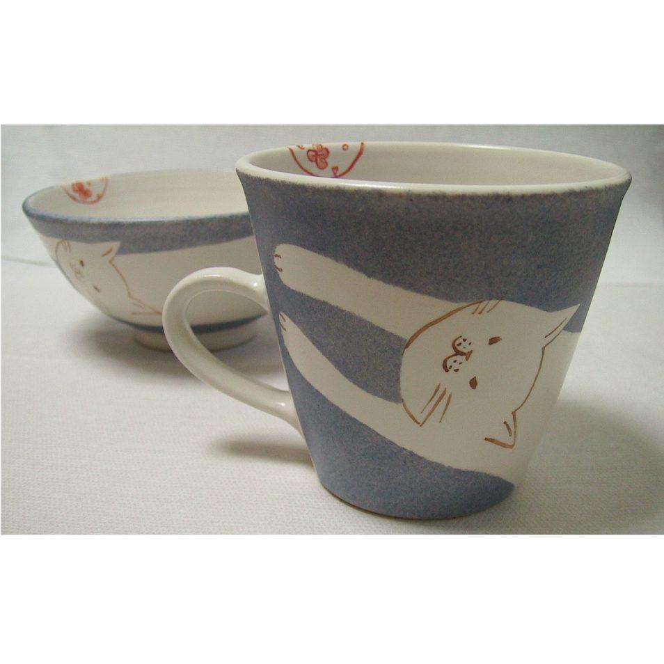 子供食器 お茶碗 と マグカップ しろネコ
