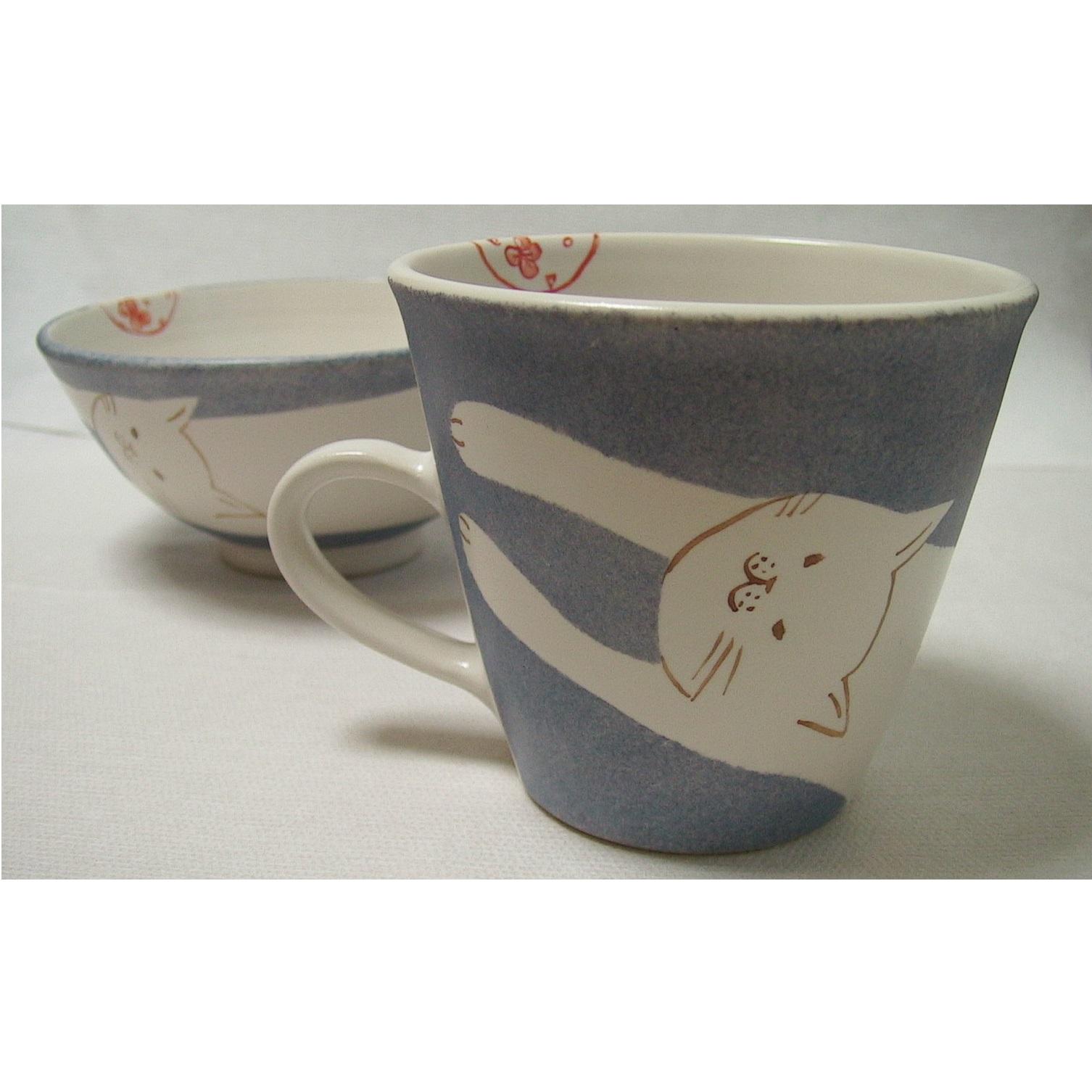 子供食器 お茶碗とマグカップ しろネコ