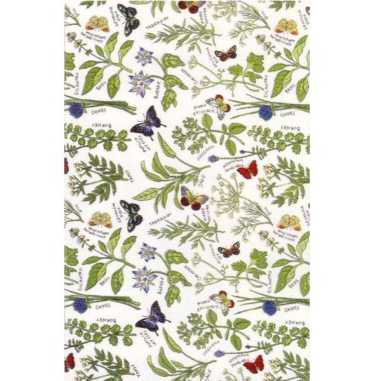 英国製のティータオル ハーブ&バタフライ Tea Towel Herbs and Butterflies